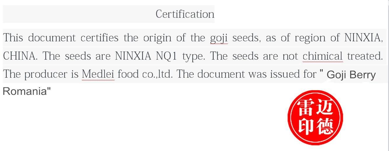 Certificat seminte goji